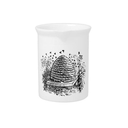 Vintage Beehive Honey Bees Beekeeping Pitcher