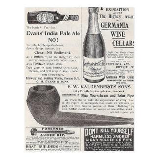 Vintage Beer and Pipe Ads Postcard