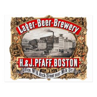 Vintage Beer Brewery H&J Pfaff Lager Boston Postcard