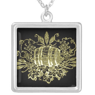VINTAGE BEER KEG HOPS AND ALE PRINT SILVER PLATED NECKLACE
