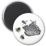 Vintage Bees 2 Inch Round Magnet