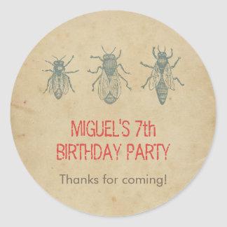Vintage Bees Kids Birthday Party Favors Thank You Round Sticker