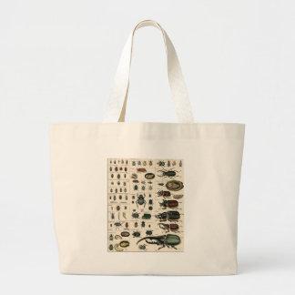 Vintage Beetle Illustration Large Tote Bag