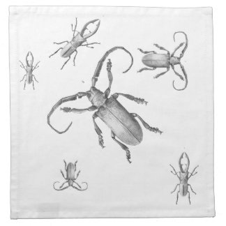 Vintage beetle illustration printed napkins