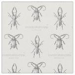 Vintage beetle illustration textile fabric