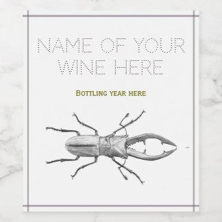 Vintage beetle illustration wine label