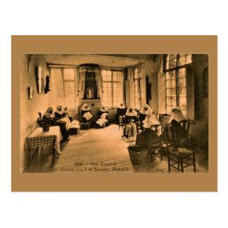 Vintage Beguines lace making in Ghent (Gent) Postcard
