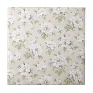 Vintage beige floral design tiles