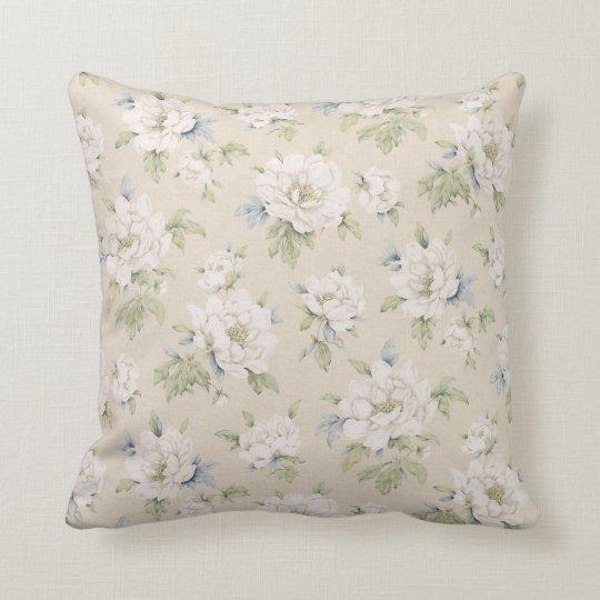 Vintage beige floral pillow