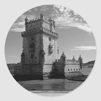 Vintage Belem Tower Silhouette 3 | Torre Belem Classic Round Sticker