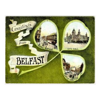 Vintage Belfast shamrock postcard