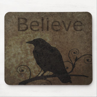 Vintage Believe Crow Mouse Pad