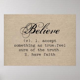 Vintage believe definition rustic inspirational poster