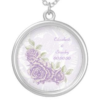 Vintage bellflower purple roses custom necklace