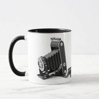 vintage bellows camera with roll of film mug