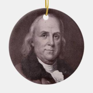Vintage Benjamin Franklin Portrait Ceramic Ornament