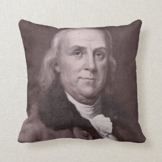 Vintage Benjamin Franklin Portrait Throw Pillow