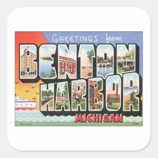 Vintage Benton Harbor Michigan Square Sticker
