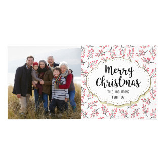 Vintage Berry Branches Twigs Christmas Photo Card