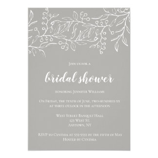 Vintage berry grey bridal shower invitations