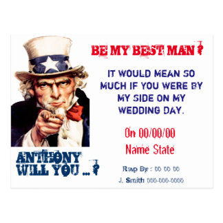 Vintage best man groomsman proposal postcard