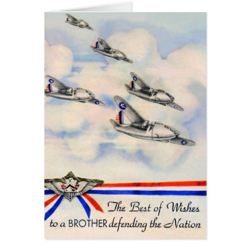 Vintage Best Wishes Military Card
