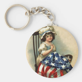 Vintage Betsy Ross Kid (multiple products) Basic Round Button Keychain