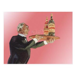 Vintage Beverages, Butler, Drinks, Glasses, Wine Postcard