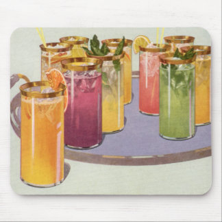 Vintage Beverages, Drinks with Ice Cubes on a Tray Mouse Pad