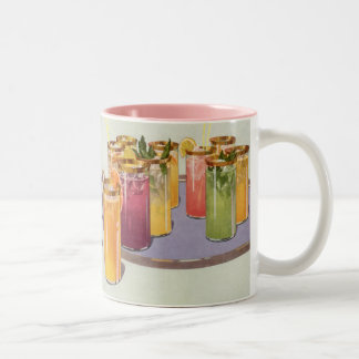 Vintage Beverages, Drinks with Ice Cubes on a Tray Two-Tone Mug