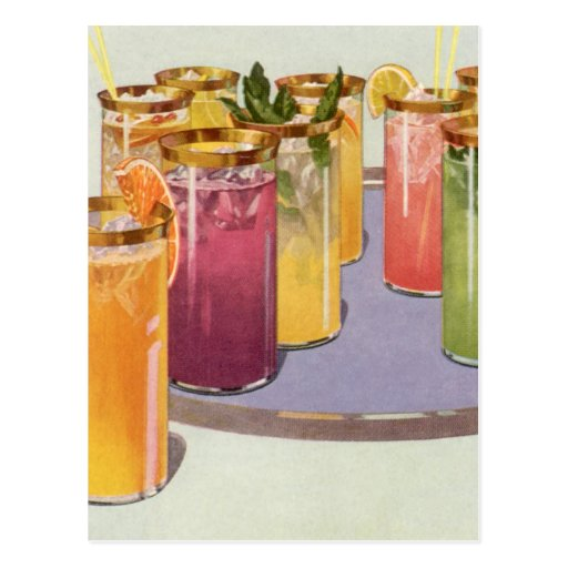 Vintage Beverages, Drinks with Ice Cubes on a Tray Postcards