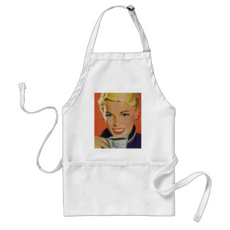 Vintage Beverages, Smiling Woman Drinking Coffee Adult Apron