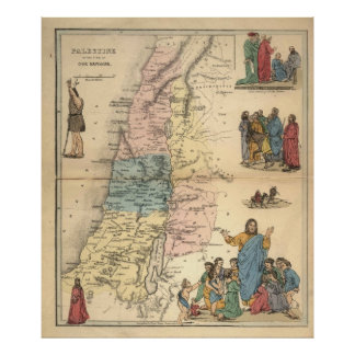 Vintage Bible maps 1856 palestine Value Poster