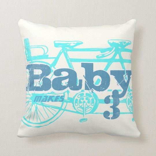 Vintage Bicycle Baby Seat Aqua Baby Boy Pillow