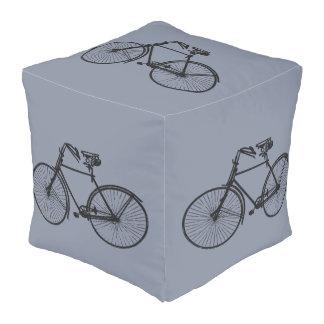 Vintage bicycle bike cute decor pouf grey blue