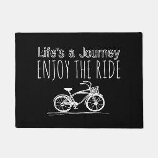 Vintage Bicycle Black & White Boho Enjoy the Ride Doormat