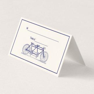 Vintage Bicycle Built For 2 Tandem Bike Blue Ivory Place Card