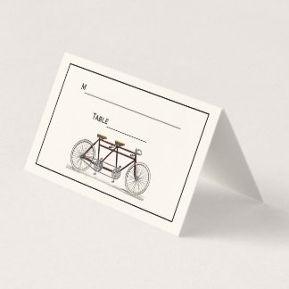 Vintage Bicycle Built For 2 Tandem Bike Red Ivory Place Card