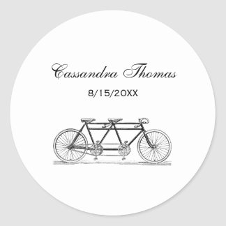 Vintage Bicycle Built For Two / Tandem Bike Classic Round Sticker