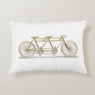 Vintage Bicycle Built For Two / Tandem Bike Gold Accent Pillow