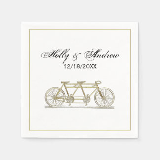 Vintage Bicycle Built For Two / Tandem Bike Gold Disposable Napkin