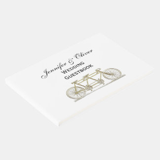 Vintage Bicycle Built For Two / Tandem Bike Gold Guest Book