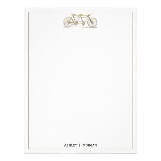 Vintage Bicycle Built For Two / Tandem Bike Gold Letterhead