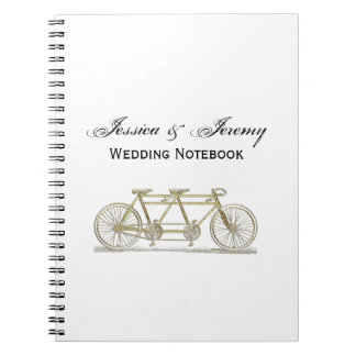 Vintage Bicycle Built For Two / Tandem Bike Gold Notebook