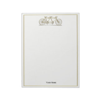 Vintage Bicycle Built For Two / Tandem Bike Gold Notepad