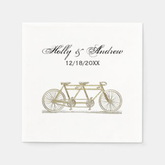 Vintage Bicycle Built For Two / Tandem Bike Gold Paper Napkin