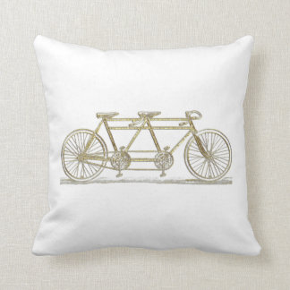 Vintage Bicycle Built For Two / Tandem Bike Gold Throw Pillow
