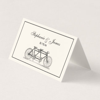 Vintage Bicycle Built For Two / Tandem Bike Ivory Place Card