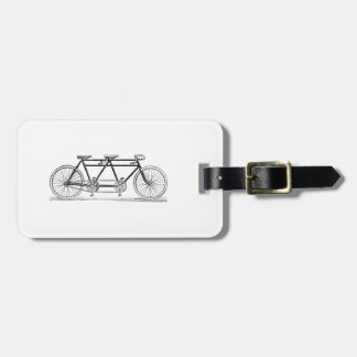 Vintage Bicycle Built For Two / Tandem Bike Luggage Tag