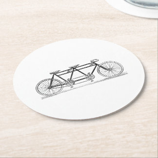 Vintage Bicycle Built For Two / Tandem Bike Round Paper Coaster